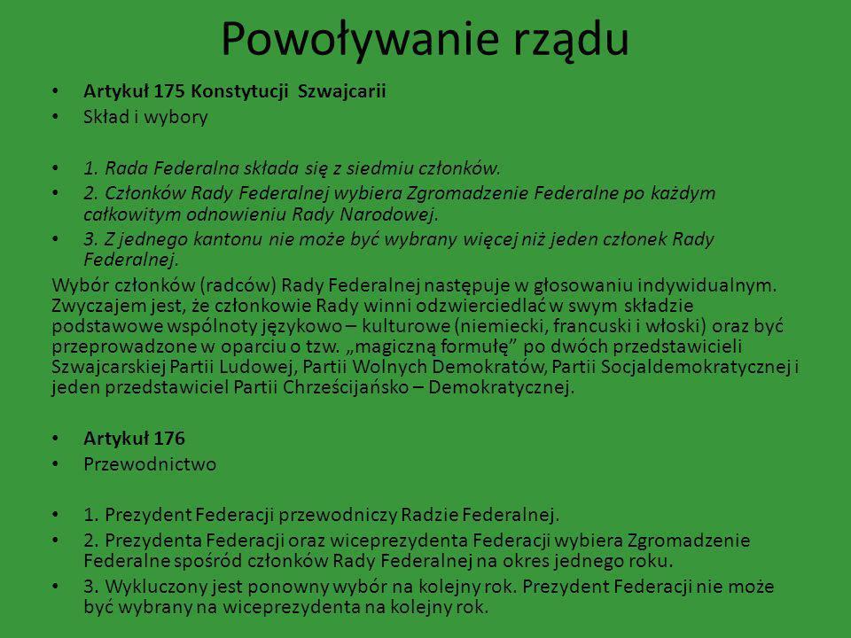 Powoływanie rządu Artykuł 175 Konstytucji Szwajcarii Skład i wybory 1. Rada Federalna składa się z siedmiu członków. 2. Członków Rady Federalnej wybie
