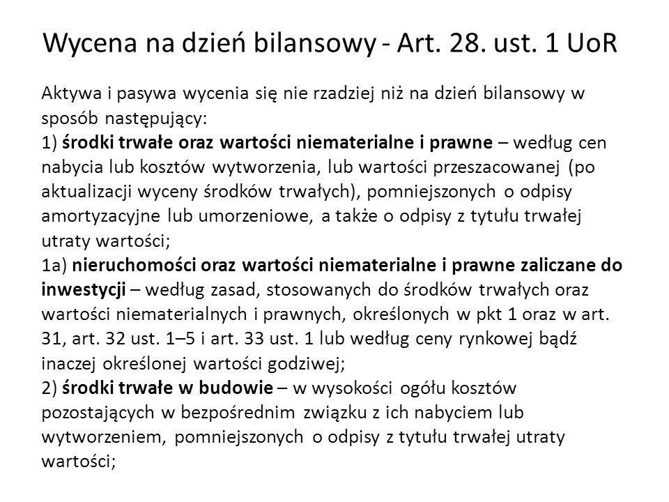 Wycena na dzień bilansowy - Art. 28. ust. 1 UoR Aktywa i pasywa wycenia się nie rzadziej niż na dzień bilansowy w sposób następujący: 1) środki trwałe