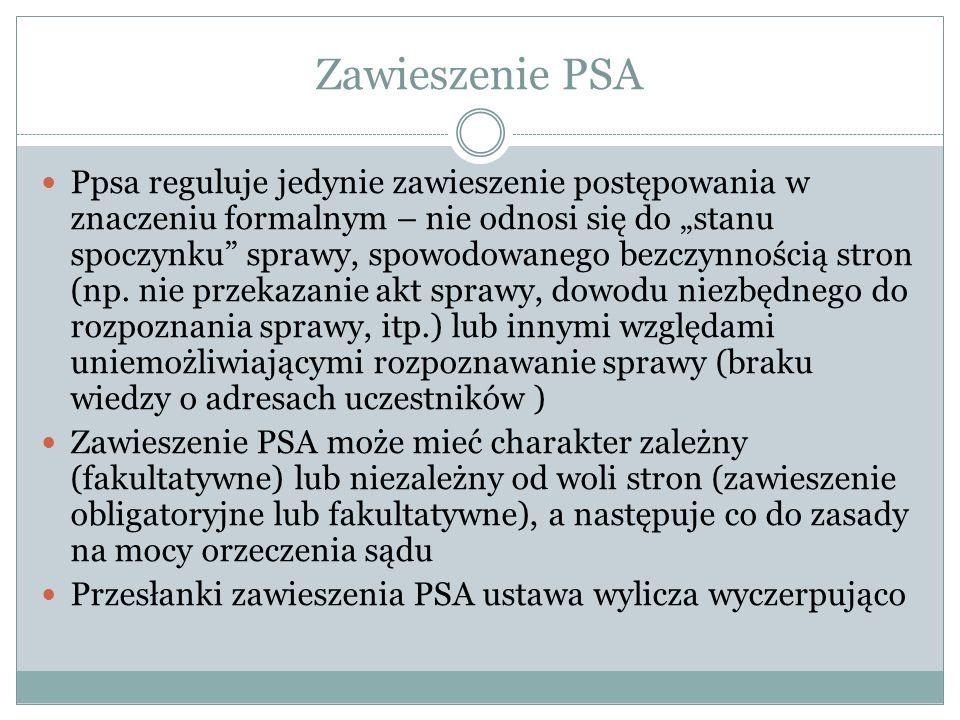 Zawieszenie PSA Ppsa reguluje jedynie zawieszenie postępowania w znaczeniu formalnym – nie odnosi się do stanu spoczynku sprawy, spowodowanego bezczyn