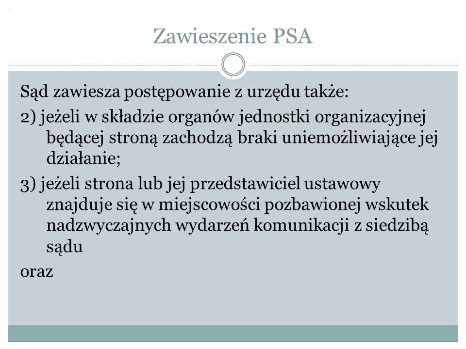 Zawieszenie PSA Sąd zawiesza postępowanie z urzędu także: 2) jeżeli w składzie organów jednostki organizacyjnej będącej stroną zachodzą braki uniemożl