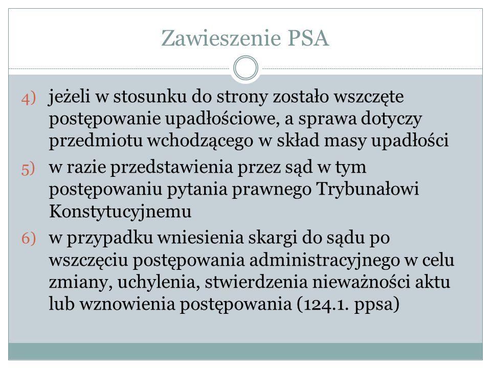 Zawieszenie PSA 4) jeżeli w stosunku do strony zostało wszczęte postępowanie upadłościowe, a sprawa dotyczy przedmiotu wchodzącego w skład masy upadło