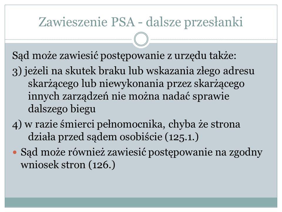 Zawieszenie PSA - dalsze przesłanki Sąd może zawiesić postępowanie z urzędu także: 3) jeżeli na skutek braku lub wskazania złego adresu skarżącego lub