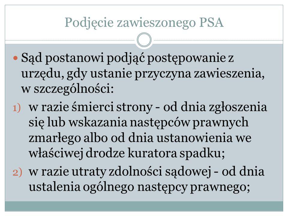 Podjęcie zawieszonego PSA Sąd postanowi podjąć postępowanie z urzędu, gdy ustanie przyczyna zawieszenia, w szczególności: 1) w razie śmierci strony -