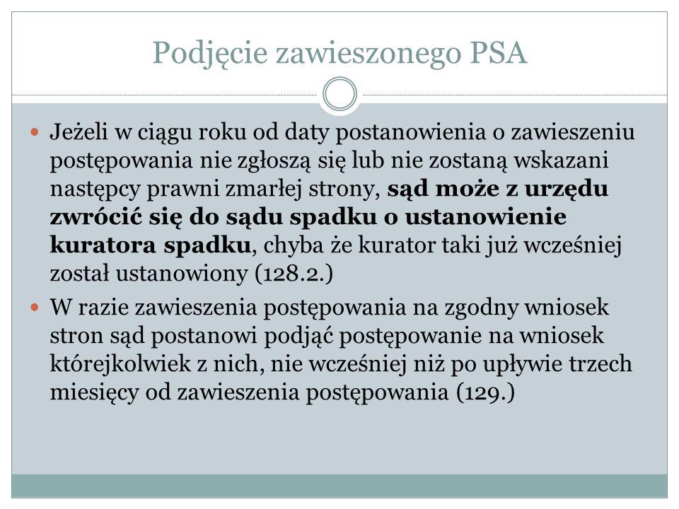 Podjęcie zawieszonego PSA Jeżeli w ciągu roku od daty postanowienia o zawieszeniu postępowania nie zgłoszą się lub nie zostaną wskazani następcy prawn