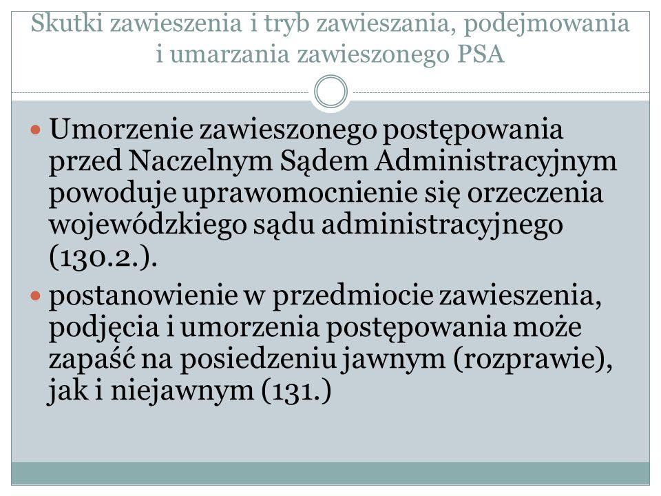 Skutki zawieszenia i tryb zawieszania, podejmowania i umarzania zawieszonego PSA Umorzenie zawieszonego postępowania przed Naczelnym Sądem Administrac