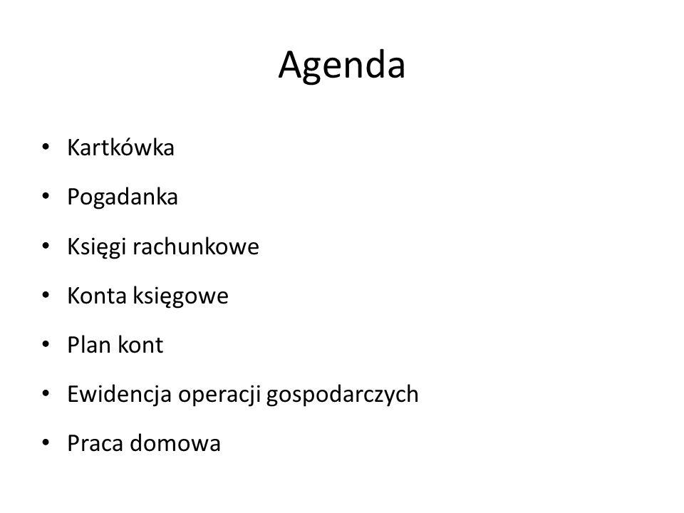 Agenda Kartkówka Pogadanka Księgi rachunkowe Konta księgowe Plan kont Ewidencja operacji gospodarczych Praca domowa