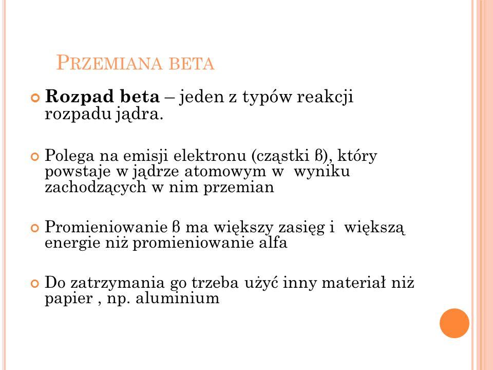 P RZEMIANA BETA Rozpad beta – jeden z typów reakcji rozpadu jądra. Polega na emisji elektronu (cząstki β), który powstaje w jądrze atomowym w wyniku z