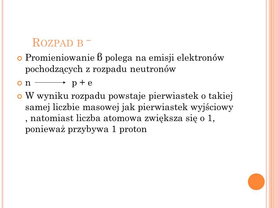 R OZPAD Β Promieniowanie β polega na emisji elektronów pochodzących z rozpadu neutronów n p + e W wyniku rozpadu powstaje pierwiastek o takiej samej l