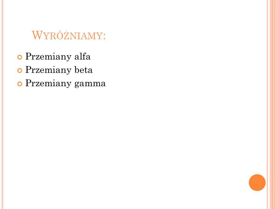 W YRÓŻNIAMY : Przemiany alfa Przemiany beta Przemiany gamma