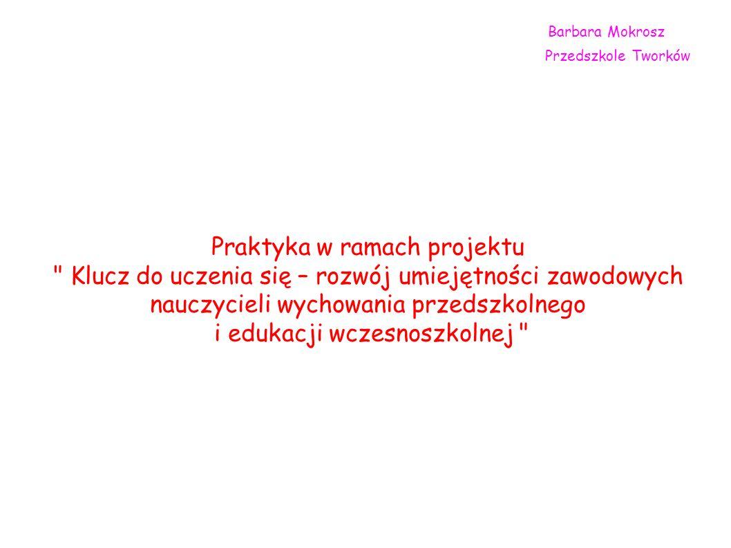 Barbara Mokrosz Przedszkole Tworków Praktyka w ramach projektu