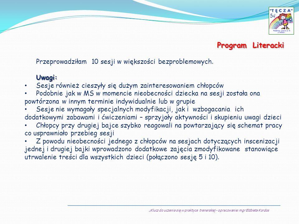 Klucz do uczenia się w praktyce trenerskiej - opracowanie: mgr Elżbieta Kordos Przedszkole Miejskie Nr 54 w Sosnowcu Program Literacki Przeprowadziłam