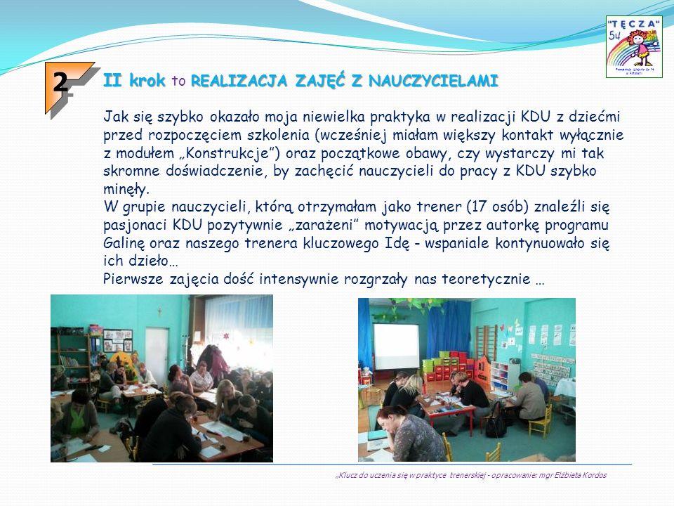 Klucz do uczenia się w praktyce trenerskiej - opracowanie: mgr Elżbieta Kordos Przedszkole Miejskie Nr 54 w Sosnowcu II krok REALIZACJA ZAJĘĆ Z NAUCZY