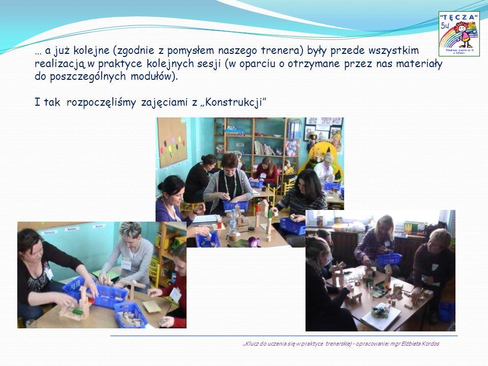 Klucz do uczenia się w praktyce trenerskiej - opracowanie: mgr Elżbieta Kordos Przedszkole Miejskie Nr 54 w Sosnowcu … a już kolejne (zgodnie z pomysł