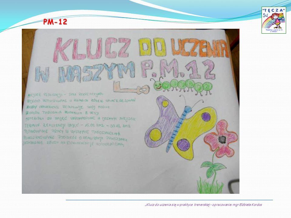 Klucz do uczenia się w praktyce trenerskiej - opracowanie: mgr Elżbieta Kordos Przedszkole Miejskie Nr 54 w Sosnowcu PM-12