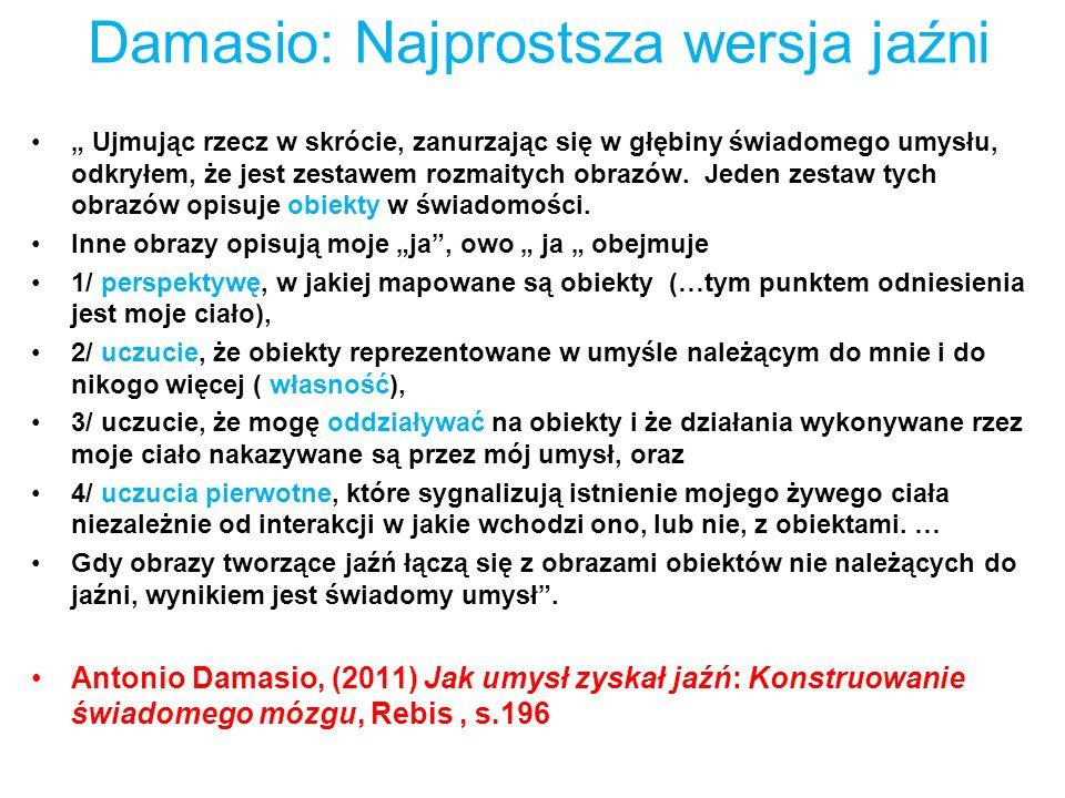 Damasio: Najprostsza wersja jaźni Ujmując rzecz w skrócie, zanurzając się w głębiny świadomego umysłu, odkryłem, że jest zestawem rozmaitych obrazów.