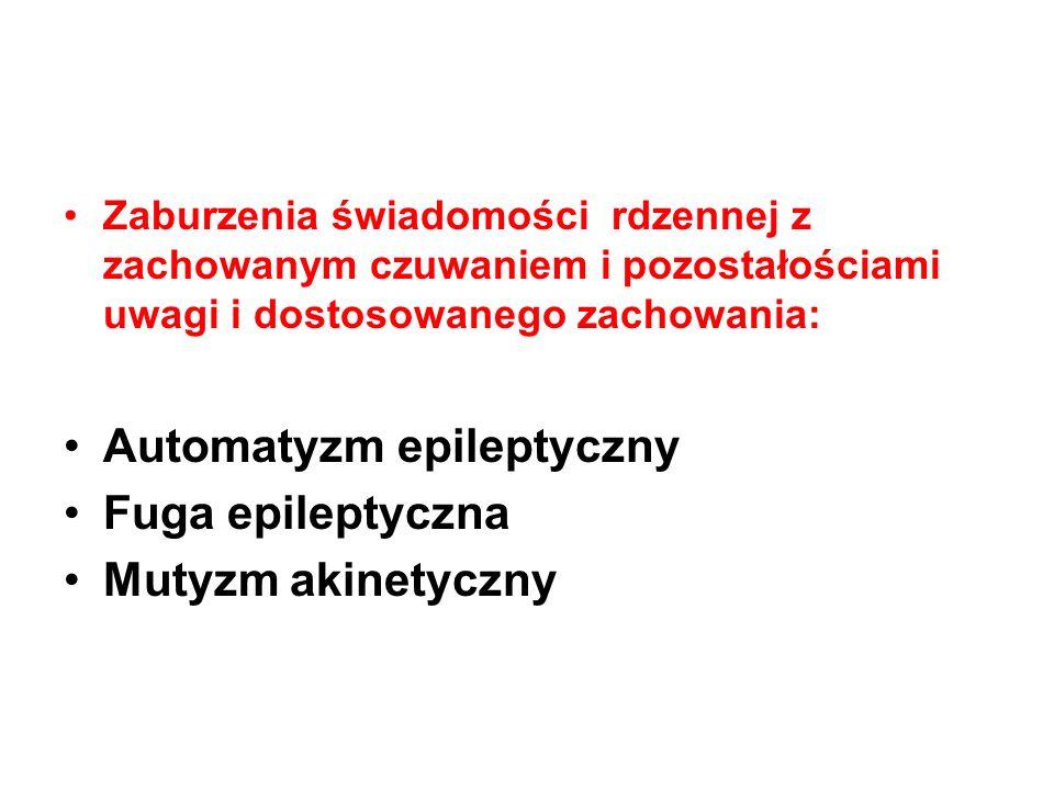 Zaburzenia świadomości rdzennej z zachowanym czuwaniem i pozostałościami uwagi i dostosowanego zachowania: Automatyzm epileptyczny Fuga epileptyczna M