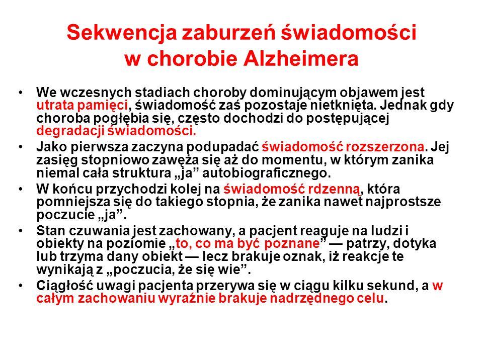 Sekwencja zaburzeń świadomości w chorobie Alzheimera We wczesnych stadiach choroby dominującym objawem jest utrata pamięci, świadomość zaś pozostaje n