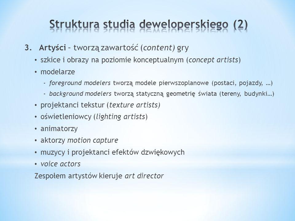 3.Artyści – tworzą zawartość (content) gry szkice i obrazy na poziomie konceptualnym (concept artists) modelarze -foreground modelers tworzą modele pierwszoplanowe (postaci, pojazdy, …) -background modelers tworzą statyczną geometrię świata (tereny, budynki…) projektanci tekstur (texture artists) oświetleniowcy (lighting artists) animatorzy aktorzy motion capture muzycy i projektanci efektów dzwiękowych voice actors Zespołem artystów kieruje art director