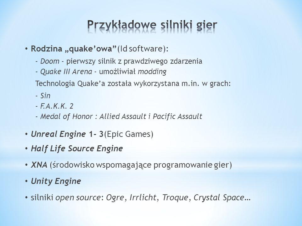 Rodzina quakeowa(Id software): - Doom - pierwszy silnik z prawdziwego zdarzenia - Quake III Arena - umożliwiał modding Technologia Quakea została wykorzystana m.in.