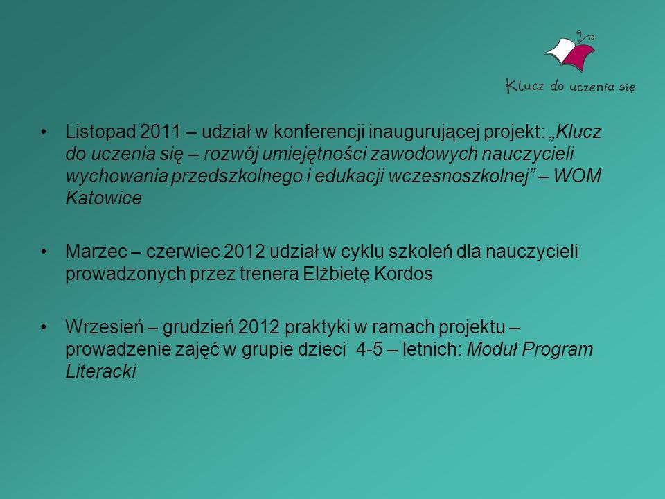 Listopad 2011 – udział w konferencji inaugurującej projekt: Klucz do uczenia się – rozwój umiejętności zawodowych nauczycieli wychowania przedszkolneg