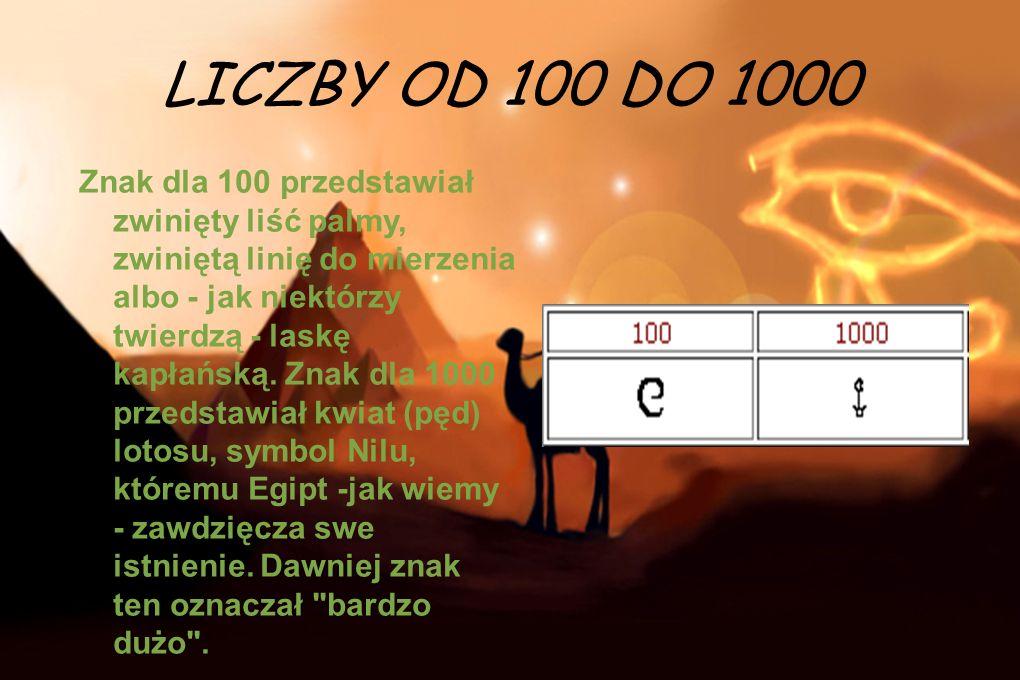 LICZBY OD 100 DO 1000 Znak dla 100 przedstawiał zwinięty liść palmy, zwiniętą linię do mierzenia albo - jak niektórzy twierdzą - laskę kapłańską. Znak