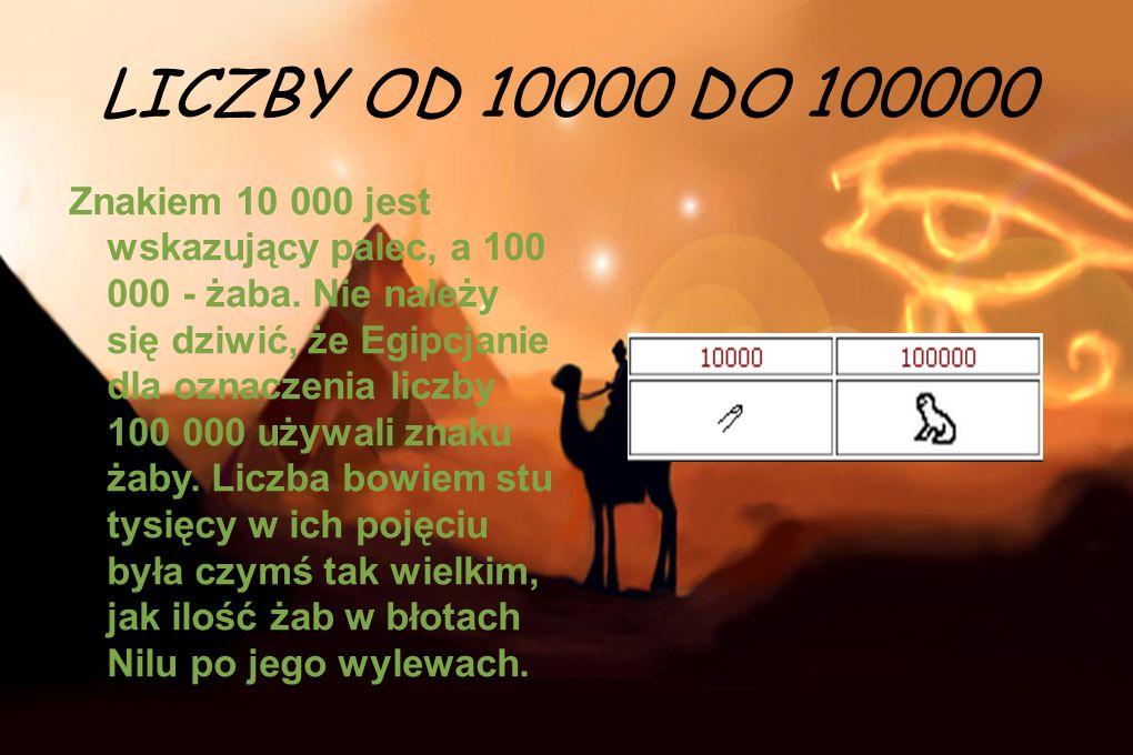 LICZBY OD 10000 DO 100000 Znakiem 10 000 jest wskazujący palec, a 100 000 - żaba. Nie należy się dziwić, że Egipcjanie dla oznaczenia liczby 100 000 u