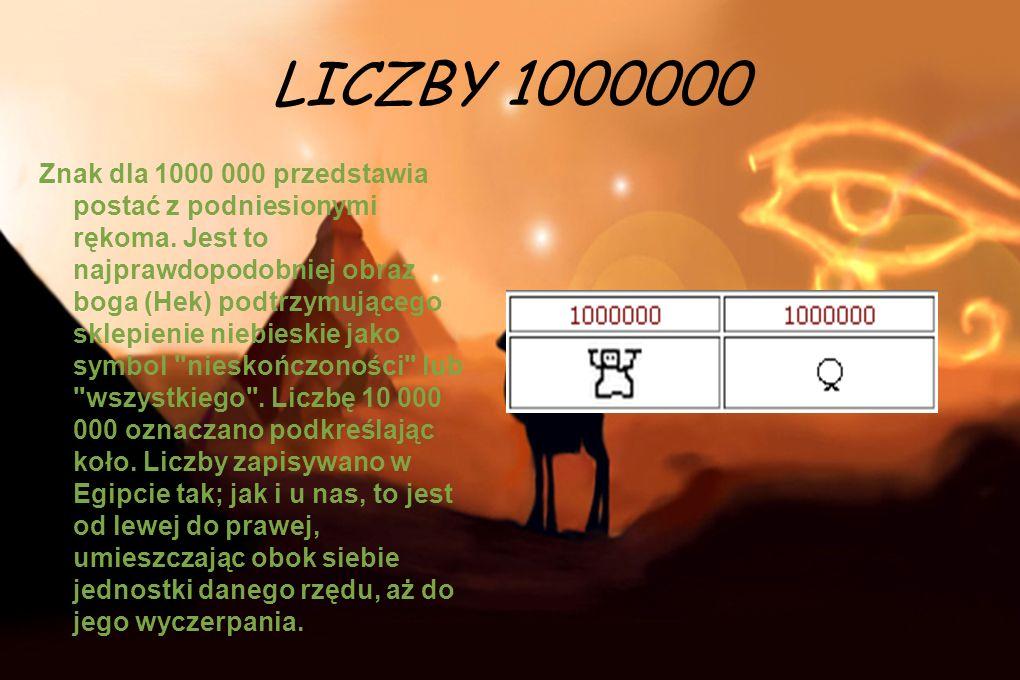 LICZBY 1000000 Znak dla 1000 000 przedstawia postać z podniesionymi rękoma. Jest to najprawdopodobniej obraz boga (Hek) podtrzymującego sklepienie nie