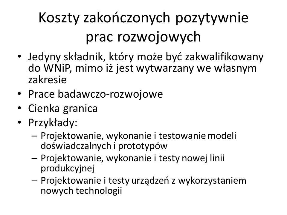 Koszty zakończonych pozytywnie prac rozwojowych Jedyny składnik, który może być zakwalifikowany do WNiP, mimo iż jest wytwarzany we własnym zakresie P