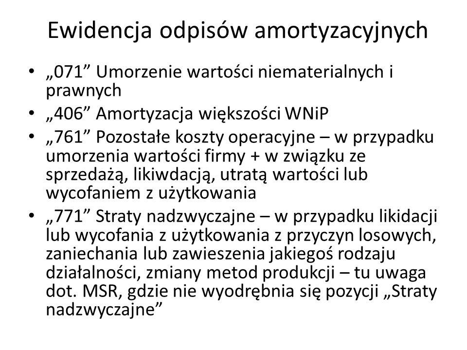 Ewidencja odpisów amortyzacyjnych 071 Umorzenie wartości niematerialnych i prawnych 406 Amortyzacja większości WNiP 761 Pozostałe koszty operacyjne –