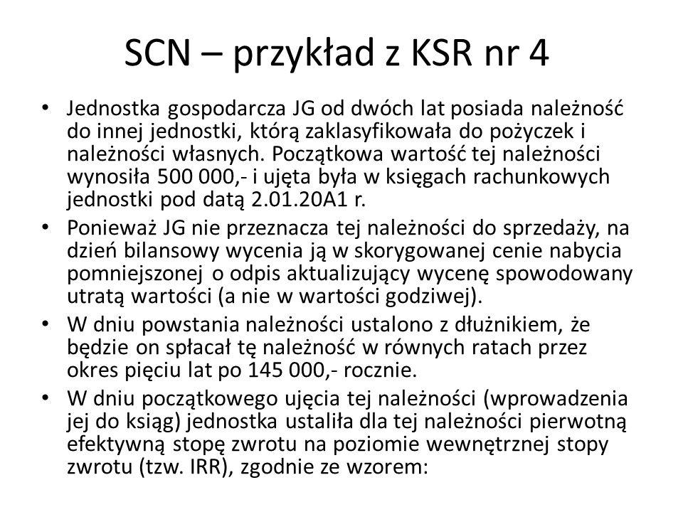 SCN – przykład z KSR nr 4 Jednostka gospodarcza JG od dwóch lat posiada należność do innej jednostki, którą zaklasyfikowała do pożyczek i należności w