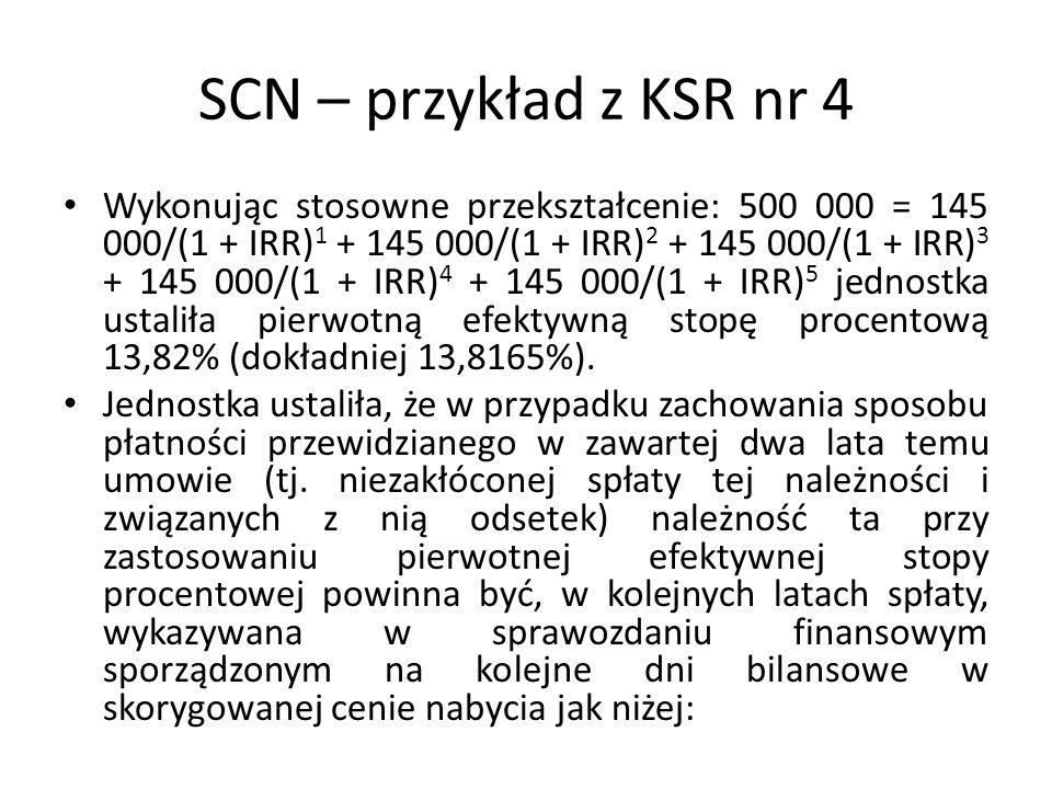 SCN – przykład z KSR nr 4 Wykonując stosowne przekształcenie: 500 000 = 145 000/(1 + IRR) 1 + 145 000/(1 + IRR) 2 + 145 000/(1 + IRR) 3 + 145 000/(1 +
