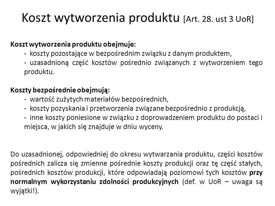 Koszt wytworzenia produktu [Art. 28. ust 3 UoR] Koszt wytworzenia produktu obejmuje: - koszty pozostające w bezpośrednim związku z danym produktem, -