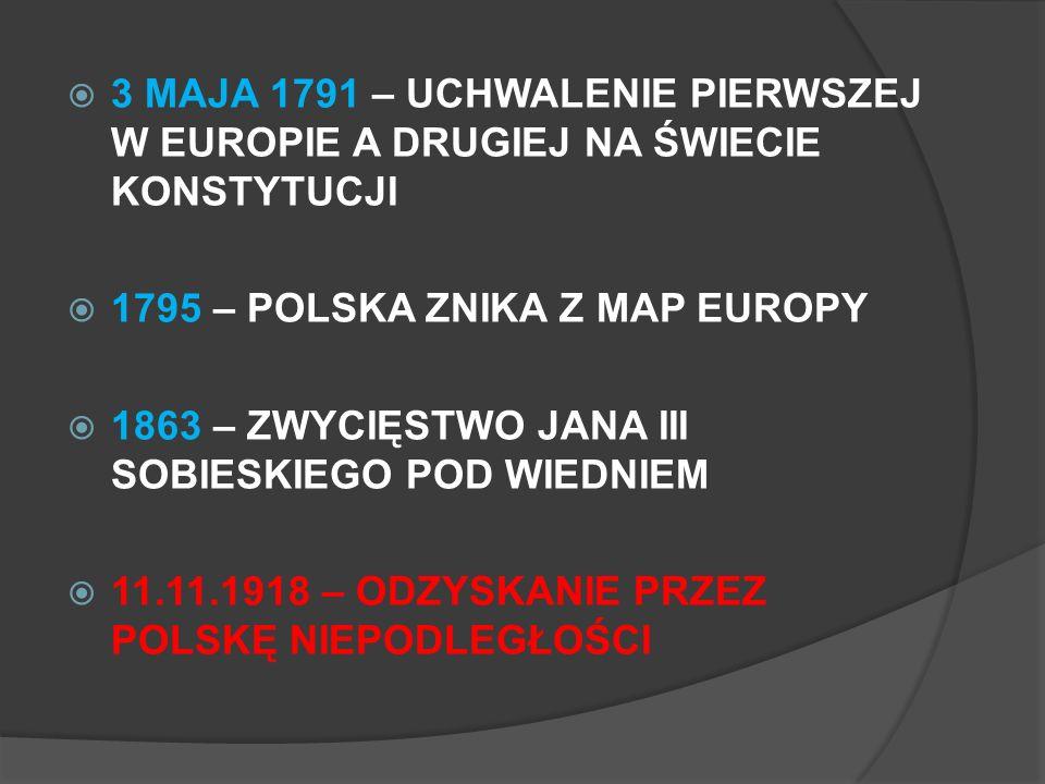 3 MAJA 1791 – UCHWALENIE PIERWSZEJ W EUROPIE A DRUGIEJ NA ŚWIECIE KONSTYTUCJI 1795 – POLSKA ZNIKA Z MAP EUROPY 1863 – ZWYCIĘSTWO JANA III SOBIESKIEGO