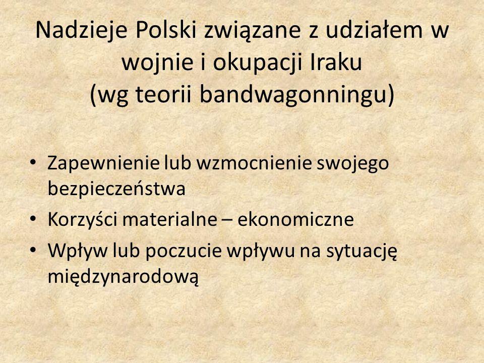 Nadzieje Polski związane z udziałem w wojnie i okupacji Iraku (wg teorii bandwagonningu) Zapewnienie lub wzmocnienie swojego bezpieczeństwa Korzyści m