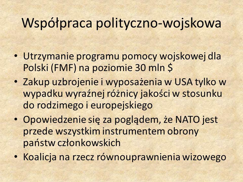 Współpraca polityczno-wojskowa Utrzymanie programu pomocy wojskowej dla Polski (FMF) na poziomie 30 mln $ Zakup uzbrojenie i wyposażenia w USA tylko w