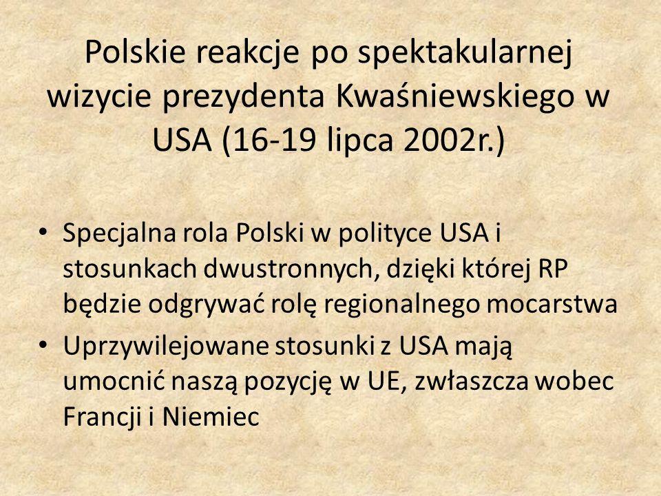 Polskie reakcje po spektakularnej wizycie prezydenta Kwaśniewskiego w USA (16-19 lipca 2002r.) Specjalna rola Polski w polityce USA i stosunkach dwust
