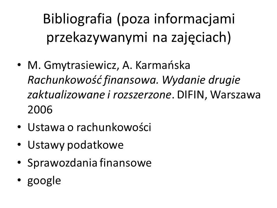 Bibliografia (poza informacjami przekazywanymi na zajęciach) M. Gmytrasiewicz, A. Karmańska Rachunkowość finansowa. Wydanie drugie zaktualizowane i ro