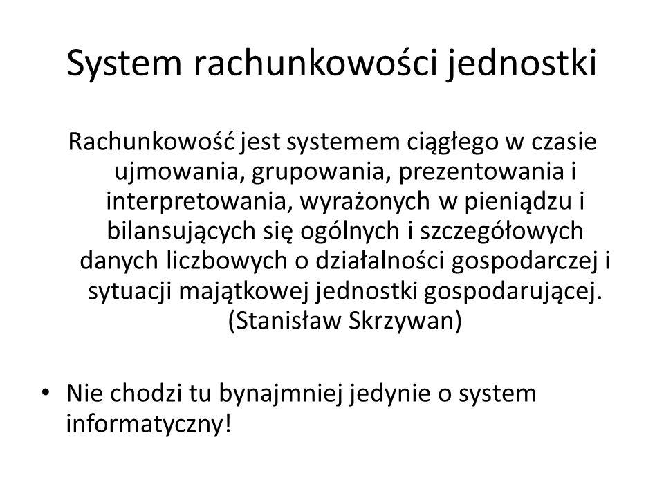 System rachunkowości jednostki Rachunkowość jest systemem ciągłego w czasie ujmowania, grupowania, prezentowania i interpretowania, wyrażonych w pieni