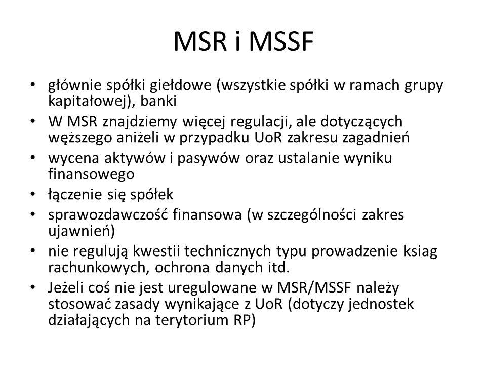 Zasady rachunkowości Uniwersalne (dowolne Państwo, Ustrój) – Podwójny zapis – Periodyzacja Nadrzędne (analogiczne dla UoR i MSR/MSSF, ale na świecie stosuje się jeszcze inne standardy) – Wierny i rzetelny obraz – Kontynuacja działalności – Ciągłość (zapewnienie porównywalności) – Memoriał (ograniczone stosowanie zasady kasowej) – Współmierność przychodów i kosztów – Ostrożność – Istotność – Wyższość treści ekonomicznej nad formą prawną Szczegółowe (podrzędne) – właściwe dla konkretnych standardów (choć mogą się pokrywać)