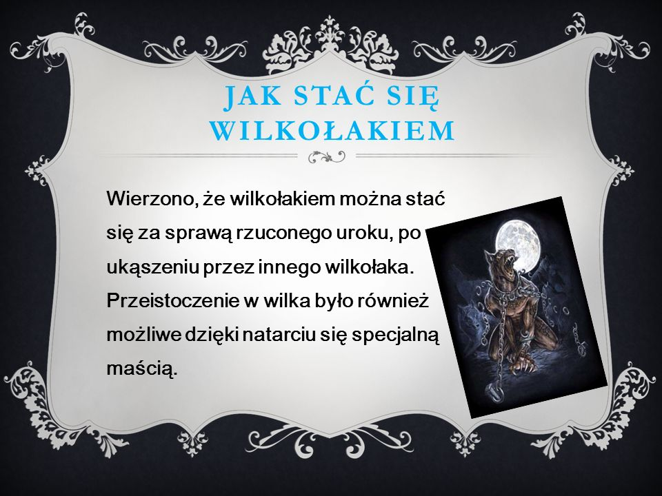 JAK STAĆ SIĘ WILKOŁAKIEM Wierzono, że wilkołakiem można stać się za sprawą rzuconego uroku, po ukąszeniu przez innego wilkołaka.