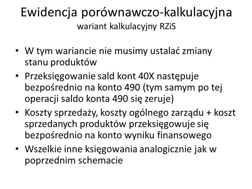 W tym wariancie nie musimy ustalać zmiany stanu produktów Przeksięgowanie sald kont 40X następuje bezpośrednio na konto 490 (tym samym po tej operacji