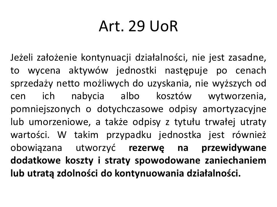 Art. 29 UoR Jeżeli założenie kontynuacji działalności, nie jest zasadne, to wycena aktywów jednostki następuje po cenach sprzedaży netto możliwych do