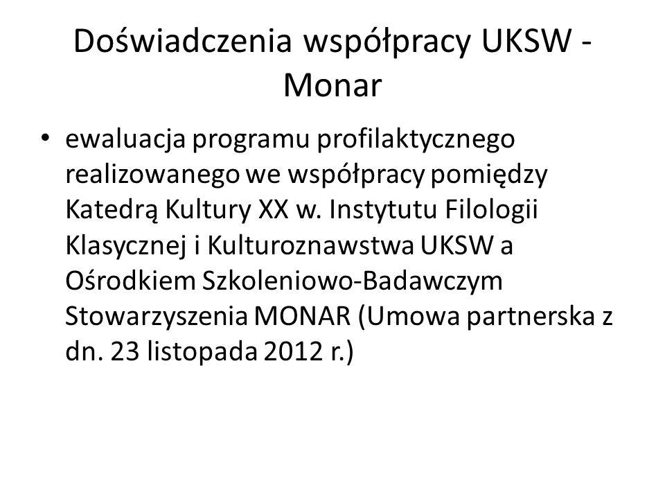 Doświadczenia współpracy UKSW - Monar ewaluacja programu profilaktycznego realizowanego we współpracy pomiędzy Katedrą Kultury XX w. Instytutu Filolog