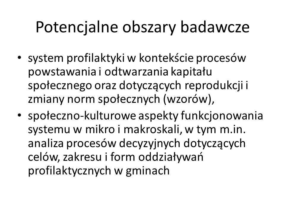 Potencjalne obszary badawcze ewaluacja skuteczności (a być może również – efektywności) obowiązujących w Polsce rozwiązań systemowych i różnych typów lokalnych strategii, analiza dyskursów skupionych wokół profilaktyki (naukowego, specjalistycznego, praktycznego).