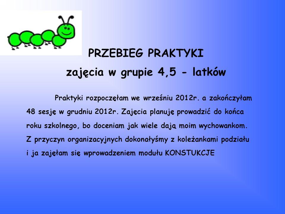 PRZEBIEG PRAKTYKI zajęcia w grupie 4,5 - latków Praktyki rozpoczęłam we wrześniu 2012r. a zakończyłam 48 sesję w grudniu 2012r. Zajęcia planuję prowad