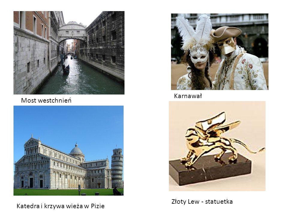 Karnawał Most westchnień Katedra i krzywa wieża w Pizie Złoty Lew - statuetka