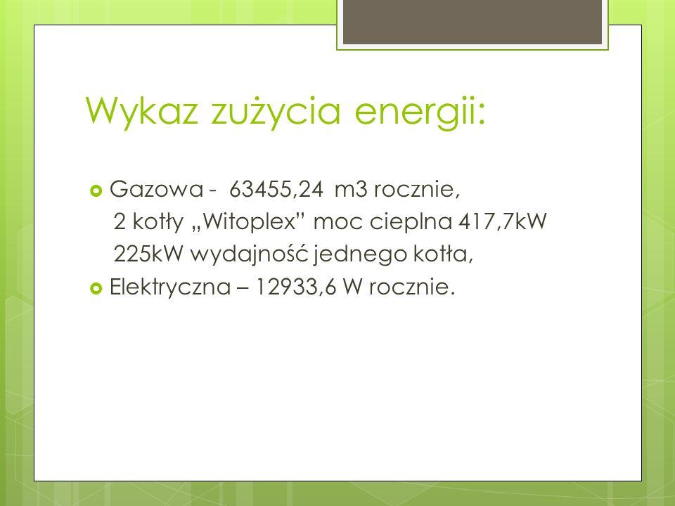 Wykaz zużycia energii: Gazowa - 63455,24 m3 rocznie, 2 kotły Witoplex moc cieplna 417,7kW 225kW wydajność jednego kotła, Elektryczna – 12933,6 W roczn