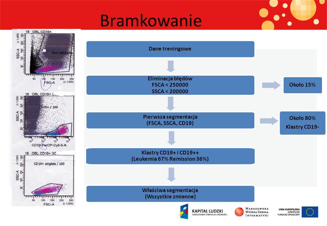 Dane treningowe Eliminacja błędów FSCA < 250000 SSCA < 200000 Pierwsza segmentacja (FSCA, SSCA, CD19) Klastry CD19+ i CD19++ (Leukemia 67% Remission 36%) Około 80% Klastry CD19- Właściwa segmentacja (Wszystkie zmienne) Około 15% Bramkowanie