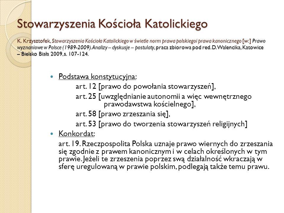 Stowarzyszenia Kościoła Katolickiego K. Krzysztofek, Stowarzyszenia Kościoła Katolickiego w świetle norm prawa polskiegoi prawa kanonicznego [w:] Praw