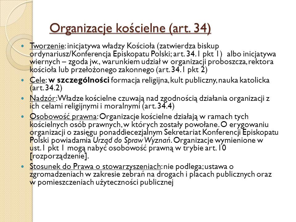 Organizacje kościelne (art. 34) Tworzenie: inicjatywa władzy Kościoła (zatwierdza biskup ordynariusz/Konferencja Episkopatu Polski; art. 34.1 pkt 1) a